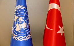 Turkish and UN flag Stock Photos