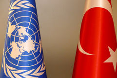 Turkish and UN flag royalty free stock image