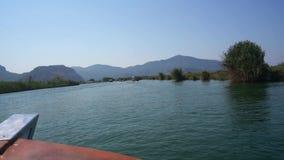Turkish vast river trip along green coast video stock footage