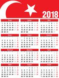Turkish Vector Calendar 2018. Week Starts from Monday. vector illustration