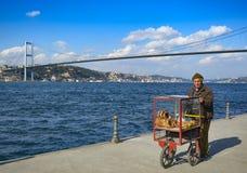 Turkish vendor sells bagels, Istanbul on the Bosphorus. Stock Photo