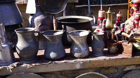 Turkish vintage antique iron tableware. Hd stock video footage