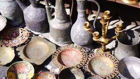 Turkish vintage antique iron tableware. Hd stock video