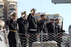 Turkish warship crew Royalty Free Stock Photo