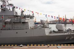 Turkish warship in the port of Odessa.NATO military forces in Ukraine. Odessa. Ukraine. 2019.03.06 stock photo