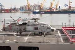 Turkish warship in the port of Odessa.NATO military forces in Ukraine. Odessa. Ukraine. 2019.03.06 stock photos