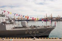 Turkish warship in the port of Odessa.NATO military forces in Ukraine. Odessa. Ukraine. 2019.03.06 stock image