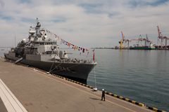 Turkish warship in the port of Odessa.NATO military forces in Ukraine. Odessa. Ukraine. 2019.03.06. royalty free stock image