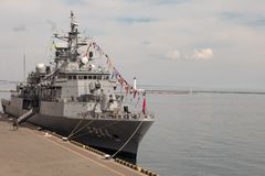 Turkish warship in the port of Odessa.NATO military forces in Ukraine. Odessa. Ukraine. 2019.03.06. stock photos