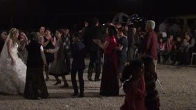 Turkish wedding party dancing. People are dancing at the Turkish wedding party stock footage