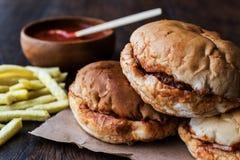 Turkish Wet Burger with sauce and potatoes. / islak hamburger Stock Images