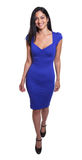 Turkish woman in a blue dress complete body. Turkish woman in a blue dress with long black hair on an isolated white background for cutout, complete body royalty free stock photography