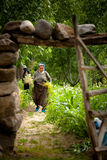 Turkish Woman Farming. Turkish woman tends local farm on June 15, 2011 in Cappadocia, Turkey Stock Photo