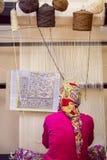 Turkish Woman at Loom Royalty Free Stock Photography