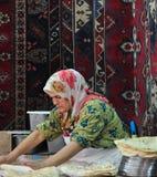 Turkish Woman making Pide Stock Image