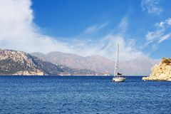 Turkish yacht in the sea Royalty Free Stock Photo