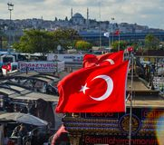 Turkish yachts at the pier with the flag royalty free stock photo