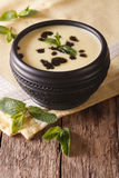 Turkish Yayla soup with rice, mint and yoghurt in a bowl close-u Royalty Free Stock Photography