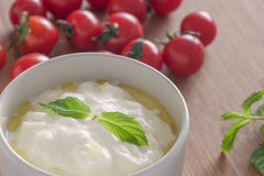 Turkish Yoghurt. Close up of traditional Turkish Yoghurt with olive oil and mint stock image