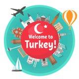 Turkisk dragning stock illustrationer