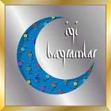 Turkisk eidhälsning med den växande månen och godisar för muslimH Royaltyfri Fotografi