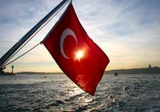 Turkisk flagga Arkivbild