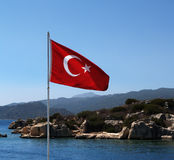 Turkisk flagga Arkivfoto