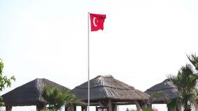 Turkisk flagga som vinkar i blå himmel, flagga av Turkiet i vinden stock video