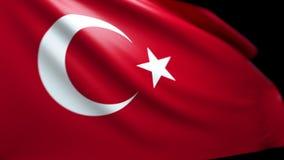 Turkisk flaggabakgrund som blåser i vinden sömlösa kretsa Luma Matte 4K arkivfilmer