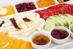Turkisk frukost, på en vit bakgrund Royaltyfria Foton