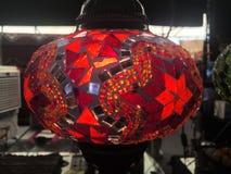 Turkisk handgjord mosaisk lampa Arkivbild
