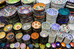 Turkisk keramik i storslagen basar Fotografering för Bildbyråer