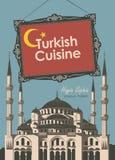 Turkisk kokkonst för banerrestaurang med Hagia Sophia vektor illustrationer