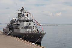 Turkisk krigsskepp i porten av Odessa NATO-krigsmakter i Ukraina odessa ukraine 2019 03 06 arkivfoto