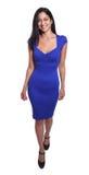 Turkisk kvinna i en färdig kropp för blå klänning royaltyfri fotografi