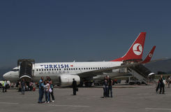 Turkisk linie lotnicze - PODGORICA, MONTENEGRO fotografia stock