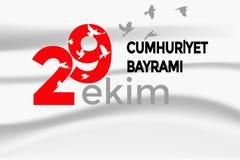 Turkisk nationell festival 29 Ekim Cumhuriyet Bayrami Översättning: Lycklig Oktober 29th republikdag Nationell dag i Turkiet Typo stock illustrationer