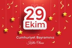 Turkisk nationell festival 29 Ekim Cumhuriyet Bayrami Översättning: Lycklig Oktober 29th republikdag Nationell dag i Turkiet Typo royaltyfri illustrationer