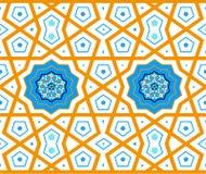 Turkisk ottomanstil med blått, svart, apelsintegelplattor Royaltyfri Bild