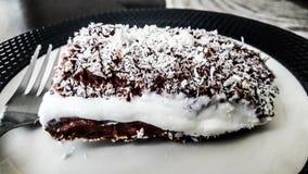 Turkisk pudding för efterrätt Saray Sarma/chokladmed kräm- och kokosnötpulver royaltyfri foto