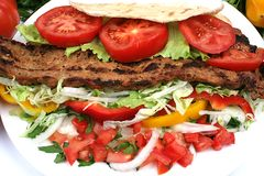 Turkisk shish kebab. Fast food image turkish kebab Royalty Free Stock Photos