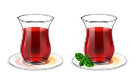 Turkisk tekopp med svart te och mintkaramellen stock illustrationer