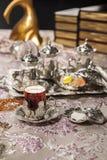 Turkisk teservis Fotografering för Bildbyråer