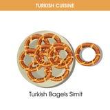 Turkiska baglar Simit på plattan från traditionell nationell kokkonst royaltyfri illustrationer