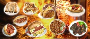 Turkiska foods, turk talar: yemekleri för türk, doner, arkivbild