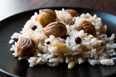 Turkiska kastanjebruna ris/Kestaneli Pilav Arkivfoto