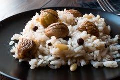 Turkiska kastanjebruna ris/Kestaneli Pilav Arkivbilder