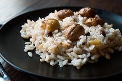 Turkiska kastanjebruna ris/Kestaneli Pilav Royaltyfri Bild