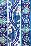 Turkiska keramiska tegelplattor, Istanbul Arkivfoto
