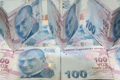 Turkiska Liras 100 TL Arkivfoto